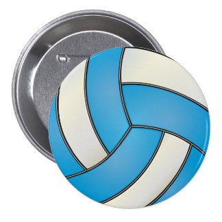 Baby Blue and White Volleyball 7.5 Cm Round Badge