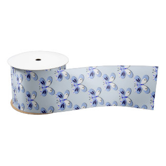 Baby Blue And White Whimsy Butterflies Satin Ribbon