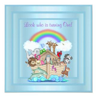BABY BLUE ARK 1ST BIRTHDAY INVITATION