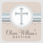 Baby Blue   Beige Religious Celebration Cross Stickers