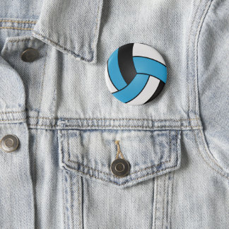 Baby Blue, Black and White Volleyball 6 Cm Round Badge