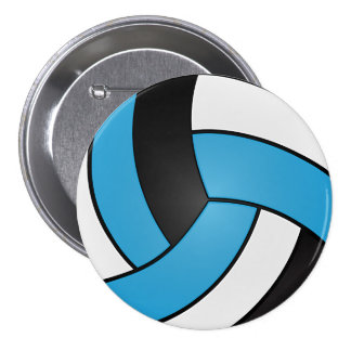 Baby Blue, Black and White Volleyball 7.5 Cm Round Badge