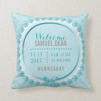 Baby Blue Boy Birth Announcement Nursery Throw Pillow