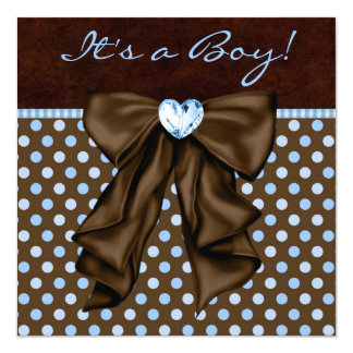 Baby Blue Brown Baby Boy Shower 13 Cm X 13 Cm Square Invitation Card