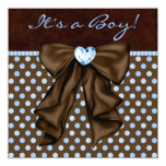 Baby Blue Brown Baby Boy Shower Personalized Invitation