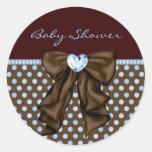 Baby Blue Brown Baby Boy Shower Round Sticker