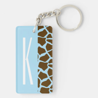 Baby Blue & Brown Giraffe Animal Print Double-Sided Rectangular Acrylic Key Ring