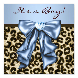 Baby Blue Brown Leopard Baby Boy Shower 13 Cm X 13 Cm Square Invitation Card