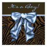 Baby Blue Brown Zebra Baby Boy Shower Personalized Announcement