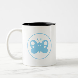 Baby Blue Butterfly Two-Tone Coffee Mug