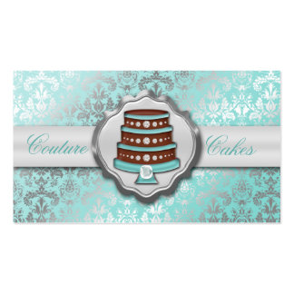 Baby Blue Cake Couture Glitzy Damask Cake Bakery Business Card Template