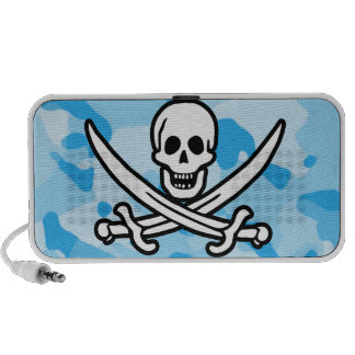 Baby Blue Camo Camouflage Jolly Roger Travelling Speakers