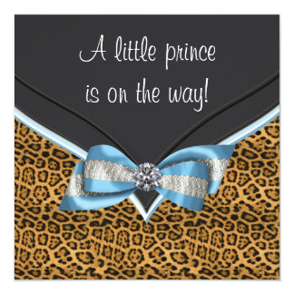 Baby Blue Cheetah Prince Baby Shower Card