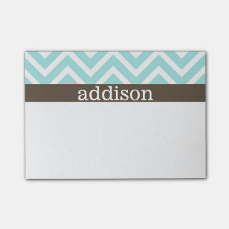 Baby Blue Chevron Stripes Post-it Notes