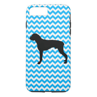 Baby Blue Chevron With Boxer Silhouette iPhone 7 Plus Case