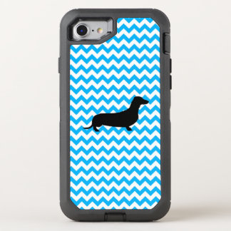 Baby Blue Chevron With Dachshund OtterBox Defender iPhone 8/7 Case