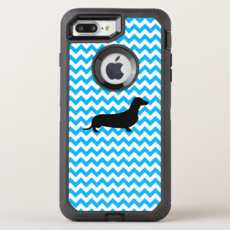Baby Blue Chevron With Dachshund OtterBox Defender iPhone 8 Plus/7 Plus Case