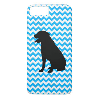 Baby Blue Chevron With Lab Silhouette iPhone 7 Plus Case