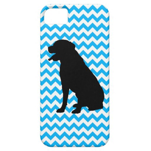 Baby Blue Chevron With Labrador Silhouette iPhone 5 Covers
