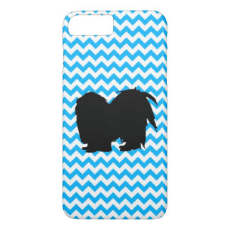 Baby Blue Chevron With Shih Tzu Silhouette iPhone 7 Plus Case