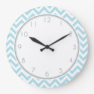 Baby Blue Chevrons Pattern Clock