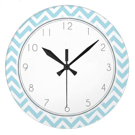 Baby Blue Chevrons Pattern Large Clock
