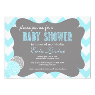 Baby Blue Chic Chevron Baby Shower Invitation