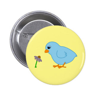 Baby Blue Chick with Purple Coneflower 6 Cm Round Badge