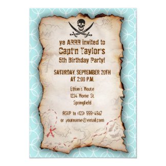 Baby Blue Circles Jolly Roger; Pirate 13 Cm X 18 Cm Invitation Card