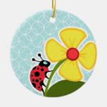 Baby Blue Circles; Ladybug Round Ceramic Decoration