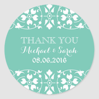 Baby Blue Classic Victorian Thank You Sticker Round Stickers