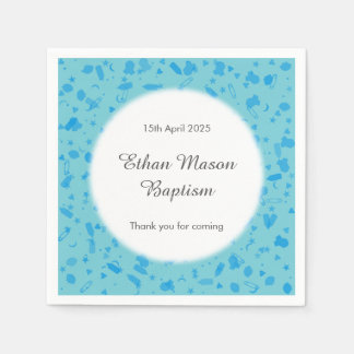 Baby Blue Confetti Baptism Christening Disposable Napkins