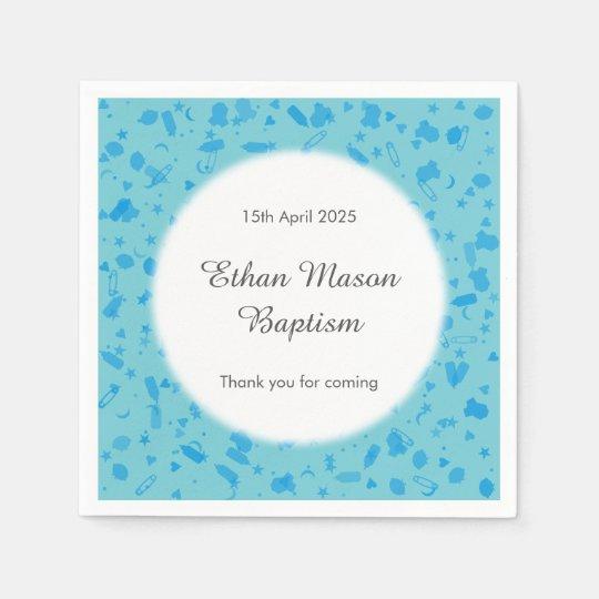Baby Blue Confetti Baptism Christening Disposable Napkins