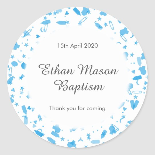 Baby Blue Confetti Baptism Christening Favour Classic Round