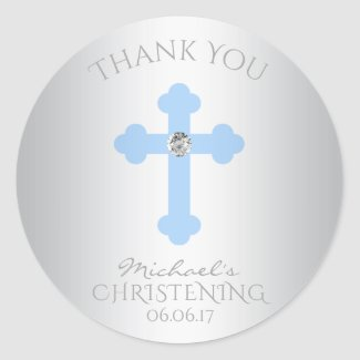 Baptism/Christening Boy Thank You Sticker