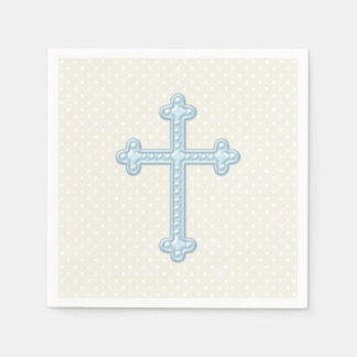 Baby Blue Cross Christening Disposable Napkins