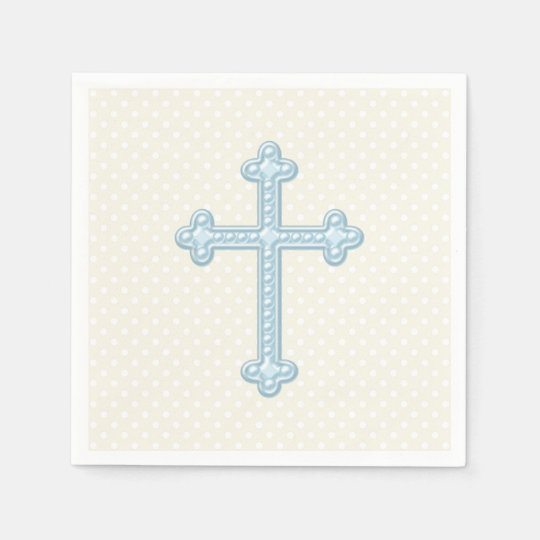 Baby Blue Cross Christening Disposable Napkins