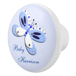 Baby Blue Cute Whimsy Butterfly Personalized Ceramic Knob