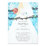"Baby Blue Damask Bride Bridal Shower Invite 5"" X 7"" Invitation Card"
