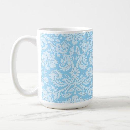 Baby Blue Damask Pattern Coffee Mug