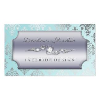 Baby Blue Dashing Damask Fashion/Interior Design Business Cards