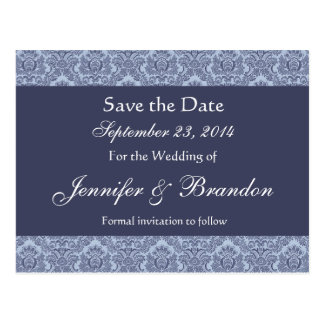 Baby Blue & Denim Damask Save The Date Postcard