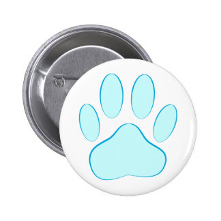 Baby Blue Dog Pawprint 6 Cm Round Badge