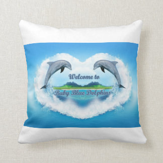 Baby Blue Dolphin Throw Pillow
