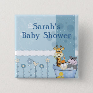 Baby Blue Dots Animals Flowers Baby Shower 15 Cm Square Badge