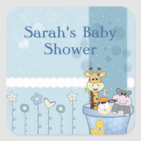 Baby Blue Dots Animals Flowers Baby Shower Square