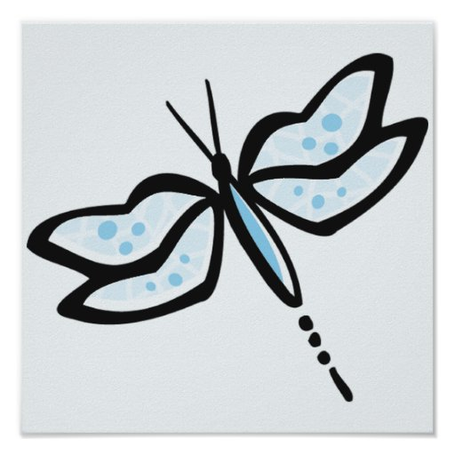 Baby Blue Dragonfly Posters
