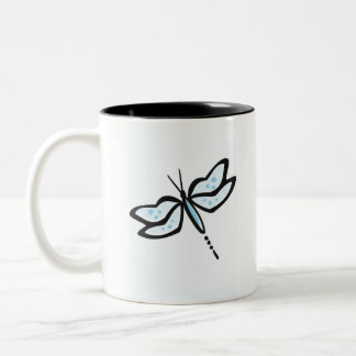 Baby Blue Dragonfly Two-Tone Coffee Mug