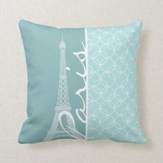 Baby Blue Eiffel Tower; Paris Cushion