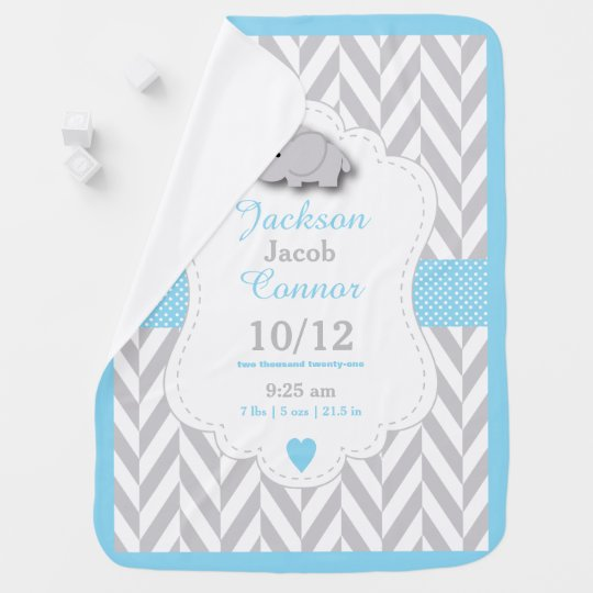 Baby Blue Elephant Birth Keepsake Design Baby Blanket